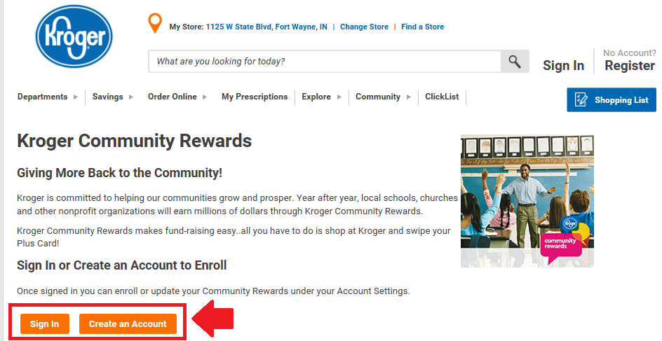 Step 1 - Kroger Community Rewards Page